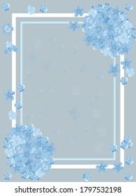 sample postcard with blue hydrangeas vector