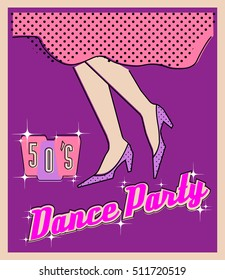 Sample poster for dance party, 1950-s style, legs dancing girl, template vintage banner, retro print, invitation, flyer, postcard, sign, flat, mid-century modern graphic, vector EPS8