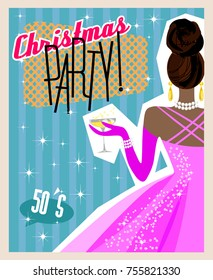 Sample poster for New Year or Christmas party, 1950-s style. Girl in evening dress, glass of champagne. Template banner. Print for invitation, flyer, postcard. Mid-century modern graphic, vector EPS8