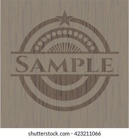 Sample realistic wooden emblem