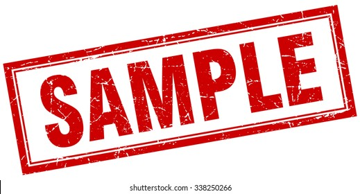 sample red square grunge stamp on white. sample stamp. sample. sample sign