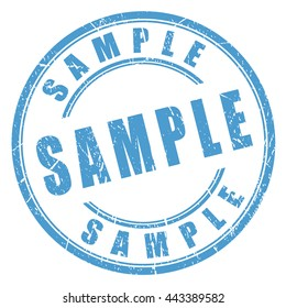 Sample rubber stamp vector illustration isolated on white background