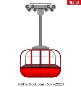 Sample Ski Lift Gondola. Ski Resort Equipment for cableway. Vector Illustration isolated on white background.