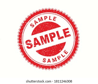 Sample stamp in rubber style, red round grunge Sample sign, rubber stamp on white, vector illustration