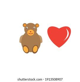 sample teddy bear and love sign vector design or flat design