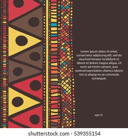 Sample text background with piece of ethnic art.