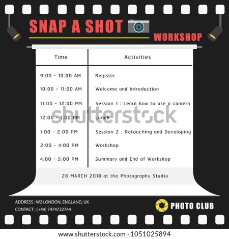 A Sample Of Timetable Or Schedule Template About Photography Workshop In Dark Grey