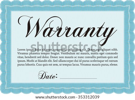 Sample Warranty Certificate Template Complex Border Design Very Detailed With Background