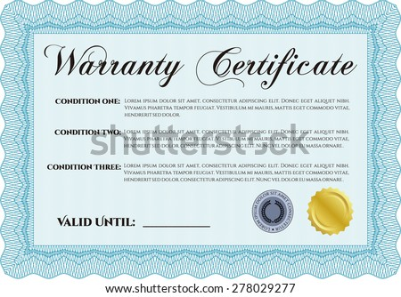 Sample Warranty Certificate Template Easy Print Stock Vector