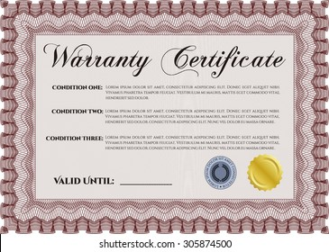 Sample Warranty certificate template. With sample text. Perfect style. Complex frame.