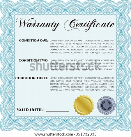 Sample Warranty Certificate Template Very Detailed Stock Vector