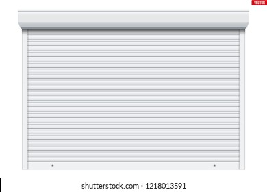 Sample of White garage Roller Shutters. Protect System for garage and shop. Vector Illustration isolated on white background.