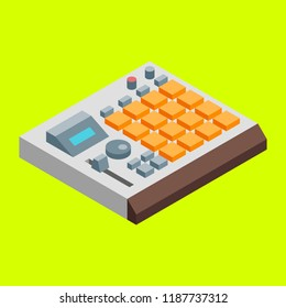 Sampler Drum Machine Hip-Hop Music Beatmaking Icon. Isometric Vector Illustration.