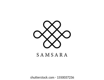 Samsara icon. Guts of Buddha, The bowels of Buddha. The Endless knot or Eternal knot, happiness node, symbol of inseparability and dependent origination of existence and all phenomena in Universe