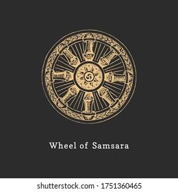 Samsara, Wheel of Life, Vektorgrafik im Gravierstil. Vintage Pastiche der esoterischen und okkulten Zeichen. Zeichnen Sie eine Skizze des magischen und mystischen Symbols.
