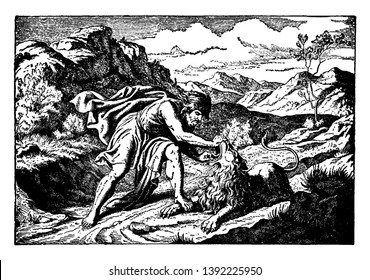 Samson tearing the jaw of a lion that he is killing. He is wearing a robe and a cape. He has long hair and a thick beard. The lion seems still alive. The terrain is rocky with some foliage, vintage