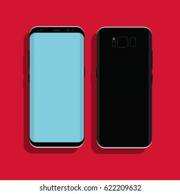 Samsung Galaxy S8 with blue screen in flat design. Front view and back view. Vector illustration