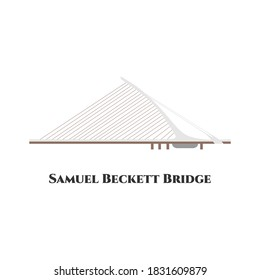 Samuel Becket Bridge in Dublin, Ireland. Beautiful architecture landmark isolated on white background. Medieval european building in thin linear design for tourist books, brochures, maps.