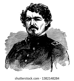 Samuel Davis Sturgis, 1822-1889, he was an American military officer and union general in the American civil war, vintage line drawing or engraving illustration