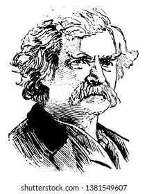 Samuel L. Clemens, 1835-1910,  he was a major American writer from Missouri, famous for his stories and novel, The Adventures of Tom Sawyer and The Adventures of Huckleberry Finn, vintage line drawing