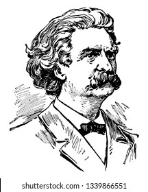 Samuel Langhorne Clemens 1835 to 1910 he was a major American for his stories and novel The Adventures of Tom Sawyer and The Adventures of Huckleberry Finn vintage line drawing or graving illustration