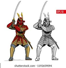 Samurai in ancient armor, japanese warrior with katana sword. Vector illustration.