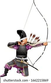 Samurai Archer, Japan Warrior Bushi with the bow, arrows and tachi sword katana, Japanese bowman wearing traditional war clothes and armor, Kyudo martial art of archery