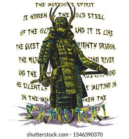 Samurai in armor with katana vector ancient warrior ninja design sketch mask asia black abstract poster character traditional