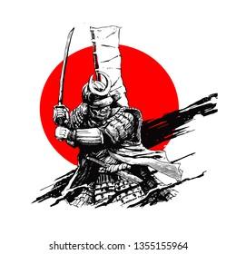 samurai art vector