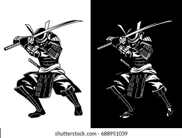 samurai in black and white.simple detail