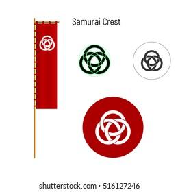 Samurai clan crests. Logo and nobori (flag). Vector illustration.