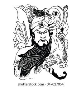 samurai with dragon