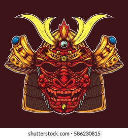 samurai head with dragon skull mask drawing sketch color