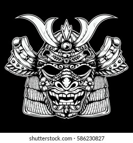 Samurai Head With Dragon Skull Mask Drawing Sketch Black And White