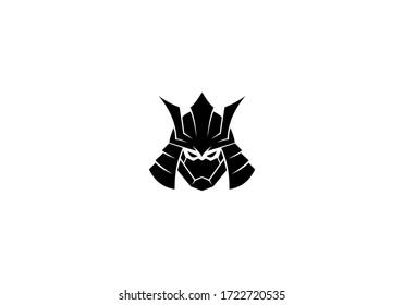 samurai head logo design vector
