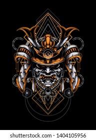 samurai head with sacred geometry ornament