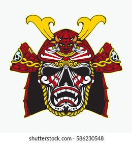 samurai head with sadness pale skull mask drawing sketch color