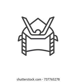 Samurai helmet line icon, outline vector sign, linear style pictogram isolated on white. Symbol, logo illustration. Editable stroke