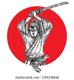 Samurai Holding Katana , Japanese , Isolated Vector Illustration, Hand Drawn