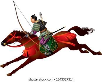 Samurai Horseman with the bow, Mounted Samurai Archer, Japanese Samurai Riding a Horse, Yabusame horse-back archery, Bushi, Bushido, Japan warrior realistic vector illustration