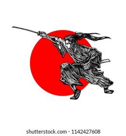 Samurai , Japanese , Vector Illustration