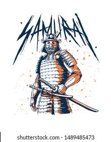 samurai japanese warrior on illustration