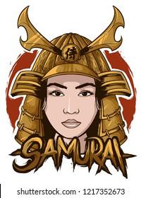 samurai japanese woman vector