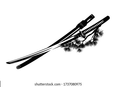 samurai katana sword and scabbard with pine tree branches - traditional japanese martial art black and white vector design