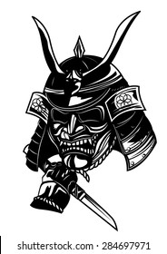 samurai mask in black and white vector