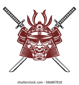 samurai mask with crossed swords isolated on white background. Design elements for logo, label, emblem, sign, brand mark. Vector illustration.