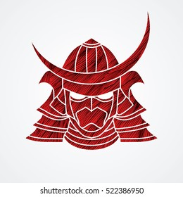 Samurai mask designed using red grunge brush graphic vector.