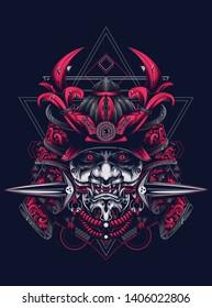 samurai mask head with sacred geometry pattern