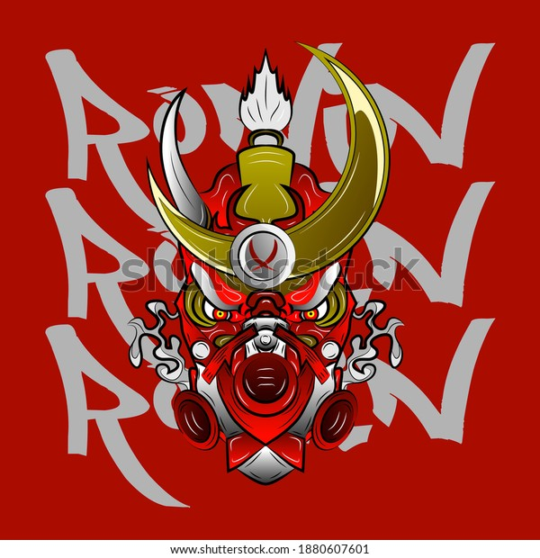 samurai mask illustration design for sukajan is mean japan traditional cloth or t-shirt with digital hand drawn Embroidery Men T-shirts Summer Casual Short Sleeve Hip Hop T Shirt Streetwear