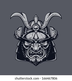 Samurai mask. Monochrome version. Japanese traditional martial mask. Vector EPS 10 illustration.